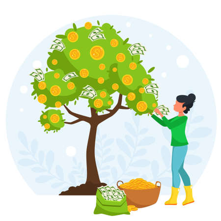 Money investing concept. Woman collecting money from a money tree. Vector illustration in flat style.