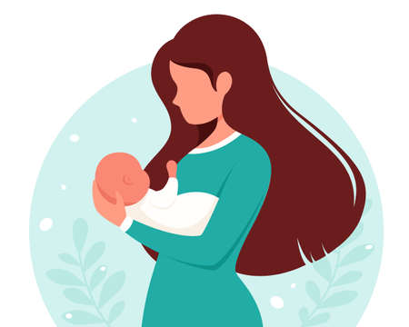 Woman with baby. Motherhood, parenting concept. Mother's Day. Vector illustration.
