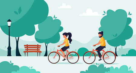 Man and woman riding bicycles in the park. Healthy lifestyle, outdoor activity concept. Vector illustration in a flat style. 일러스트