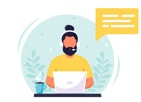 Man with headphones working on computer. Customer service, assistant, support, call center concept. Vector illustration.