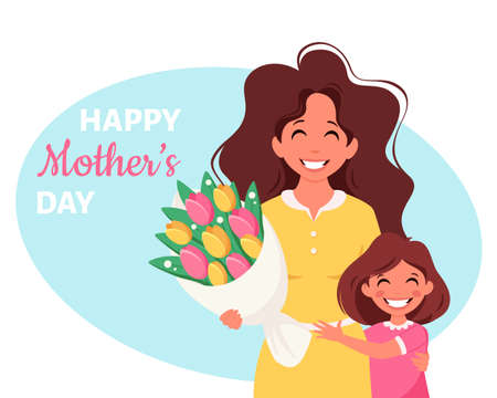 Mother's day greeting card. Woman with bouquet of flowers and daughter. Vector illustration Ilustración de vector