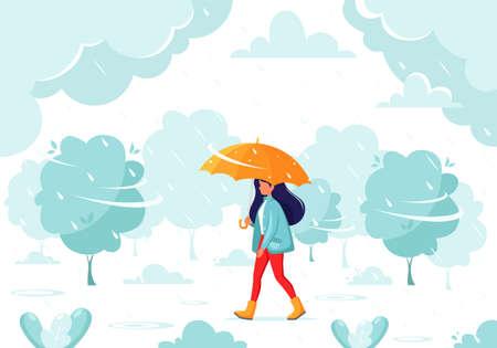 Woman walking under an umbrella during the rain. Fall rain. Autumn outdoor activities.
