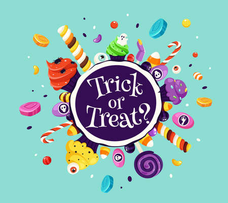 Trick or treat. Set of halloween sweets and candies. Vector illustration in flat style. Vetores