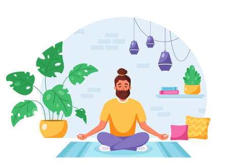 Man meditating in lotus pose in cozy modern interior. Healthy lifestyle, home activity. Vector illustration Vettoriali