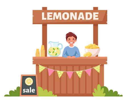 Boy selling cold lemonade in lemonade stand. Summer cold drink. Vector illustration