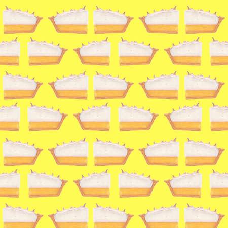meringue: Lemon meringue pie illustration grid pattern on yellow background