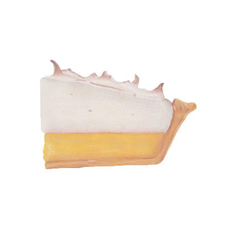 meringue: Lemon meringue pie illustration on white background Stock Photo