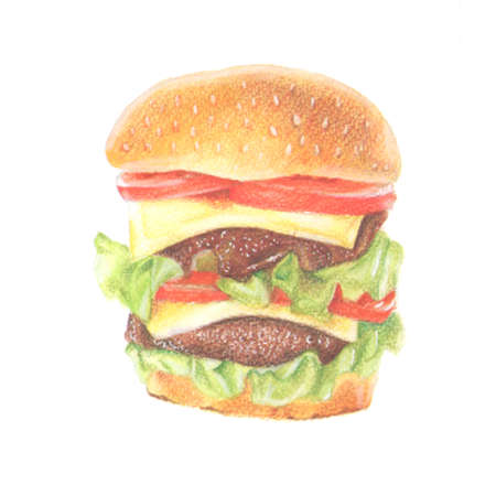egg sandwich: Watercolor and colored pencils hand drawn hamburger with cheese, tomatoes, and meat on white background