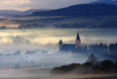 Foggy landscape - Bavorov Church