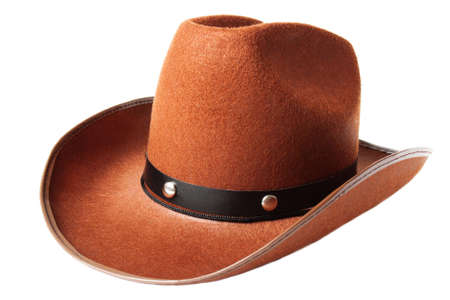 Brown cowboy hat isolated over white photo