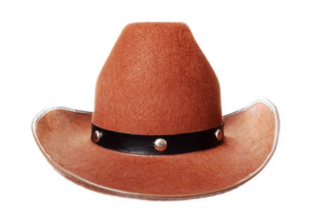 Brown cowboy hat isolated over white Stock Photo - 6469882