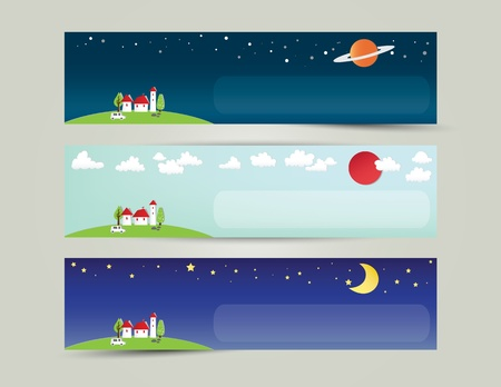 Colorful abstract city and the universe banner Vector
