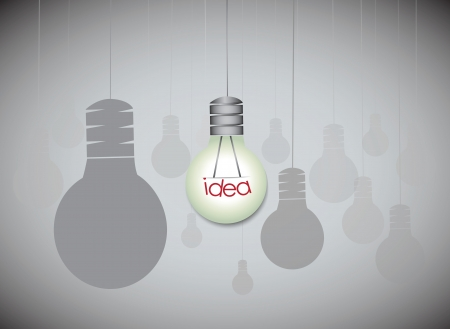 Idea concept with hanging light bulbs with glowing one isolated on black background