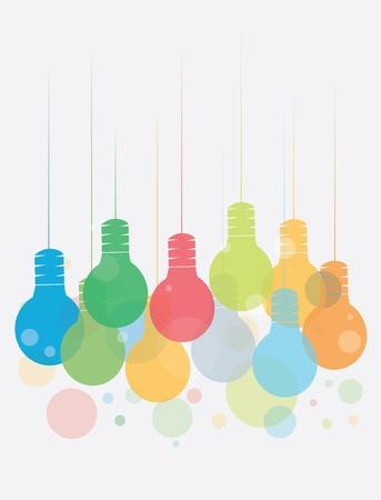 bombillo ahorrador: Concepto de la idea con la ilustraci�n colorida de colgar las bombillas Vectores