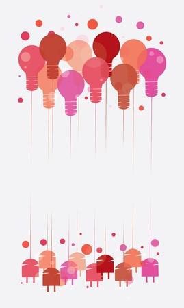 bombillo ahorrador: Concepto de la idea con el ejemplo de colgar las bombillas rojas