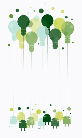 Idea concept with illustration of hanging green light bulbs