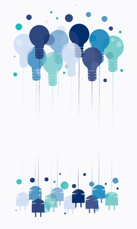 Idea concept with illustration of hanging blue light bulbs Vector