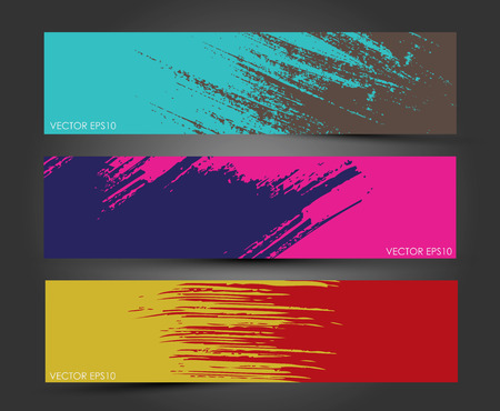 Set of three headers  Abstract Paint brush banner background   Vectores