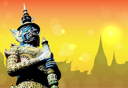 east asian culture: Vector of Giant sculpture with temple in thailand background silhouette