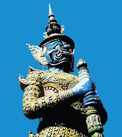 southeastern asia: Giants sculpture on blue background  Illustration