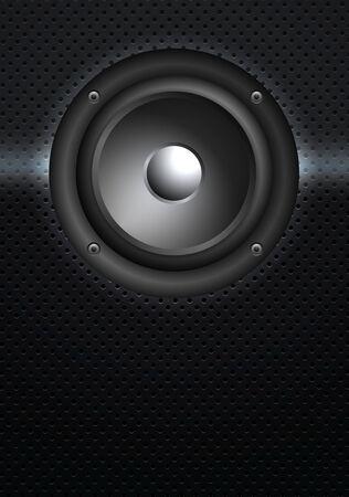 woofer: Black speaker isolated on Grill Background, vector illustration Illustration