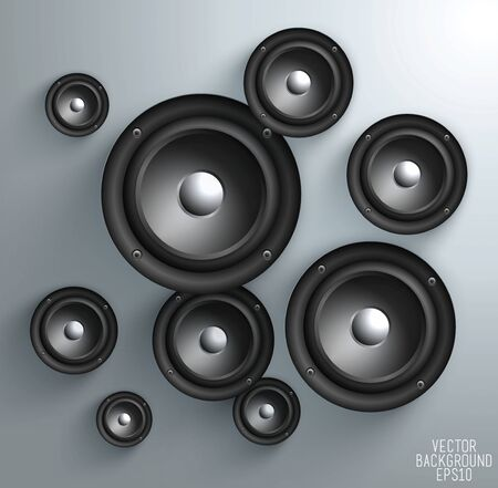 loud speaker: Black speaker isolated on white Background, vector illustration Illustration
