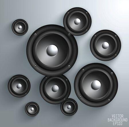speaker system: Black speaker isolated on white Background, vector illustration Illustration