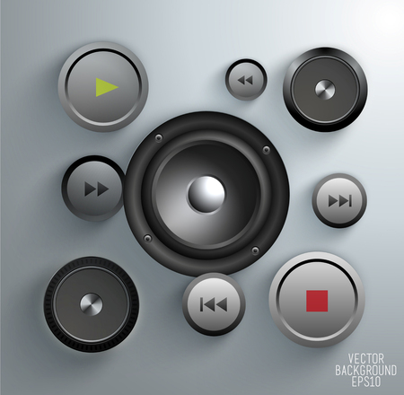 Black speaker, media player buttons and audio player isolated on Background, vector illustration Illustration