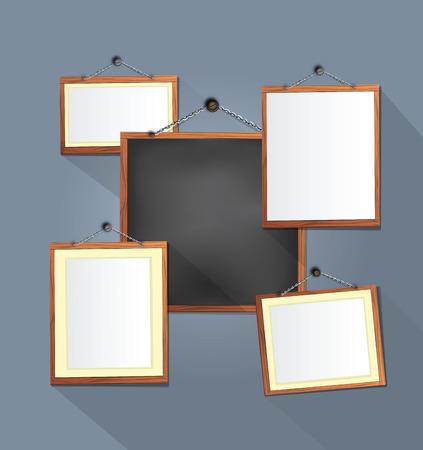 wooden frames on Grey  wall  vector illustration  Illustration