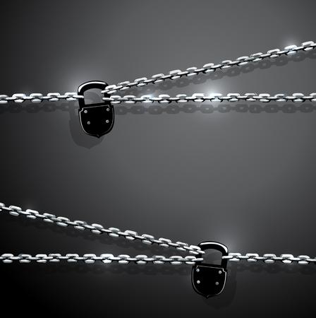 rusty padlock: illustration of chain and padlock Illustration