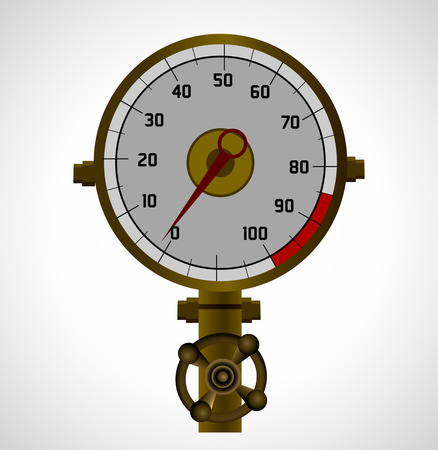 needle valve: Pressure gauge, measuring instrument of pressure in the pipeline  Vector illustration