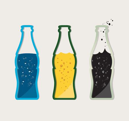 Vector set of drinks - beer, water, cola in a glass bottle Illustration