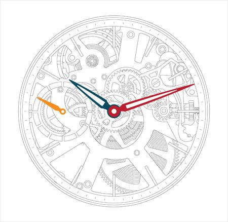 Vector illustratie van een metalen mechanisch horloge en klok component