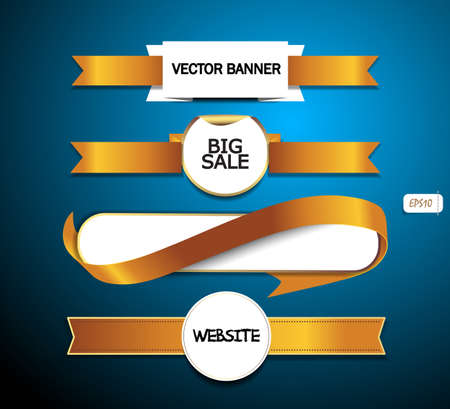 A set of vector promo white paper banners decorated with yellow ribbon tags Vector