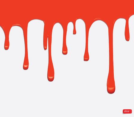 paint drips: Vector red seamless paint drips