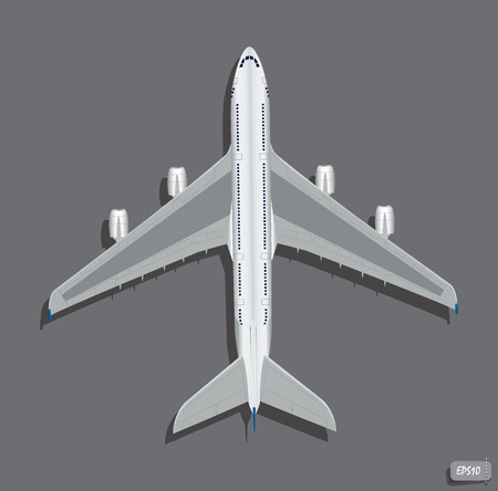 vector airplane top view  Vector illustration