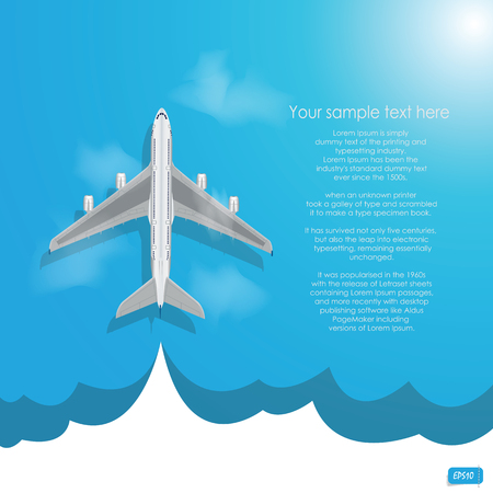 Vector airplane flying with cloud on blue background Vector