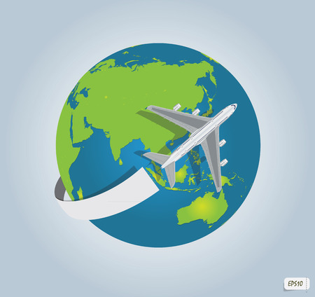 trajectory: Traveling by a plane  Vector illustration