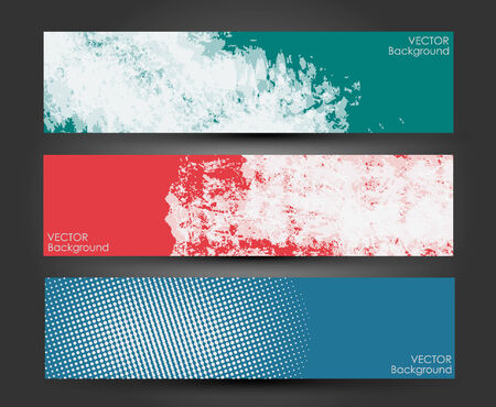 Set of three headers  Abstract Paint brush banner background   Illustration
