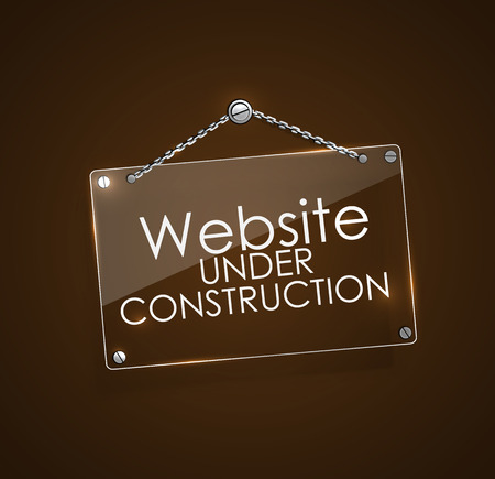 website window: Website under construction signs with bright frame digital hanging with chain, vector illustration. Illustration