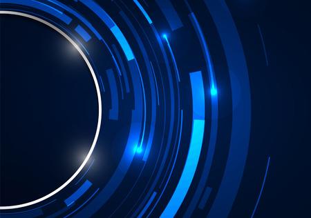 Tecnología abstracta círculos vector sobre fondo azul.