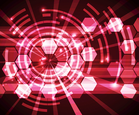 Abstract digital technology vector on red background. Vettoriali
