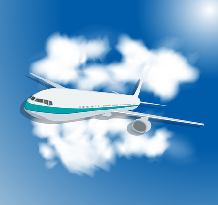 ร   ร   ร   ร  ร ยข  white clouds: Travel background with an airplane and white clouds. Vector illustration. Illustration