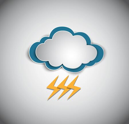 thunder cloud: cloud and thunder storm icon on blue background. Illustration