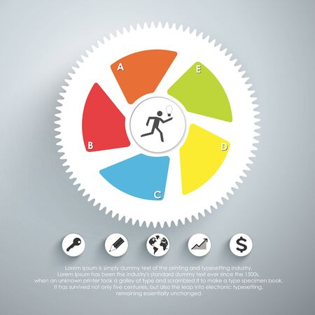 mechaninc: Infographic design template with gear chain. Vector illustration. Illustration