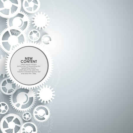 Abstract vector  white gears on grey background. Vettoriali