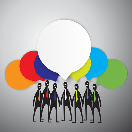 analyzed: Group of Business People Brainstorming, Vector illustration.