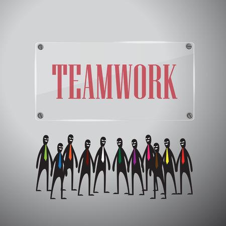 fame: Teamwork design with glass fame on white background, vector illustration.