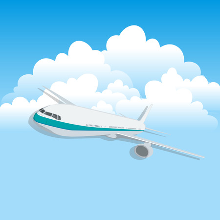 air plane: Vector abstract background with airplane and cloud.
