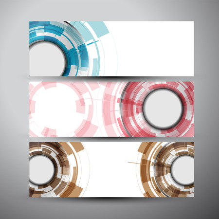 Vector banners set with Abstract Modern technology circles background.